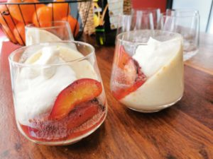 Suzanne Crozier – Custard fruit yoghurt Panna cotta with roasted plum topping